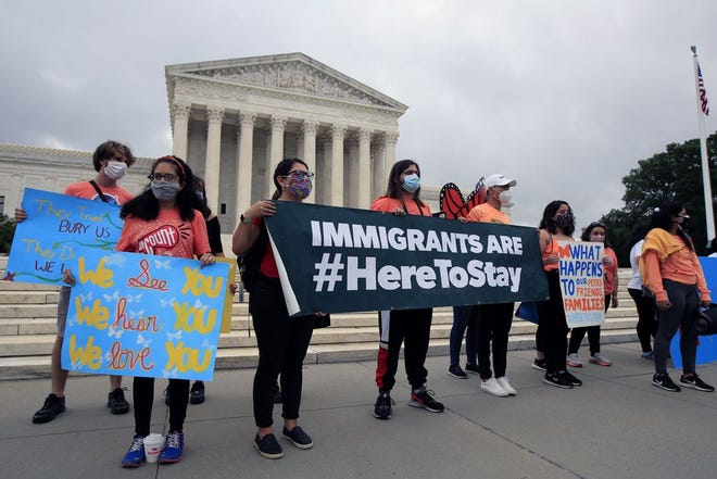 DACA students rally in front of the U.S. Supreme Court in June 2020.
