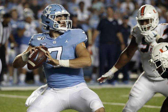 North Carolina's Sam Howell threw for 3,641 yards and 38 touchdowns last season as a freshman.