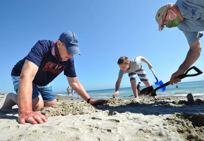 Creating a horseshoe crab sand sculpture at Duxbury Beach are from left, Peter McMahon of Plymouth, his grandson Keagan Sciog, 10, of Plymouth, and Doug Lowry of Mass Audubon during the Mass Audubon and North River Wildlife Sanctuary sand sculpture program at Duxbury Beach on Saturday, July 18, 2020.