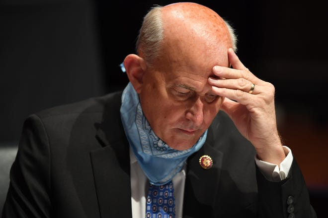 U.S. Rep. Louie Gohmert, R-Tyler, studies notes Tuesday during a House Judiciary Committee hearing on the oversight of the Department of Justice. Gohmert tested positive for COVID-19 the next morning.