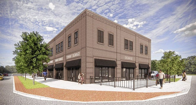 This rendering of Wirt's Grove is at the corner of College and Main streets. The two-story building will have more than 12,000 square feet with five storefronts on the first floor.