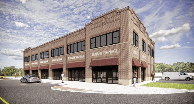 """This rendering of Rarey's Port is at the corner of Front and Main streets. The two-story building will have more than 14,000 square feet with six storefronts on the first floor. """"The goal is to break ground in 2021 with an eight-month construction time frame,"""" city Administrator B.J. King said."""