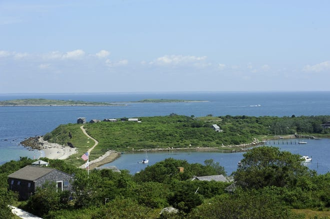 A view of Cuttyhunk Island from Lookout Hill. The island reported its first case of COVID-19 on Wednesday.