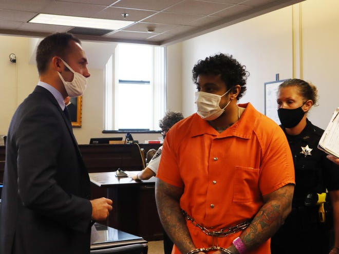Naythen Aubain, the Utica man accused of killing his grandmother and landlord, appears Thursday, Sept. 17, 2020, in Oneida County Court. He pleaded guilty Friday regarding the case.