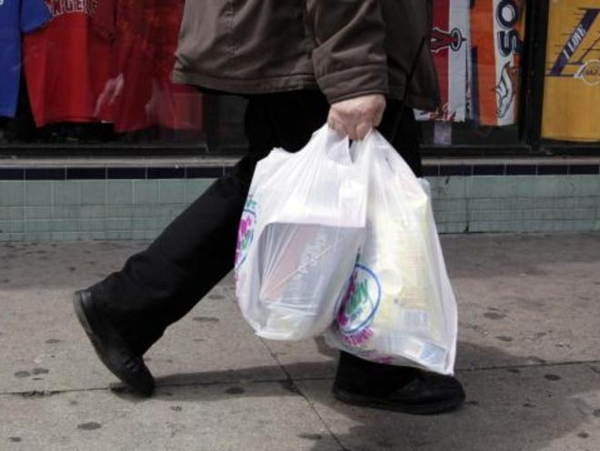 The state Department of Environmental Conservation said it will begin enforcing the plastic bag Tuesday, meaning any store offering plastic bags after that date could face fines.