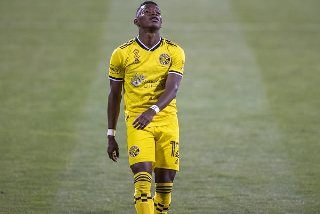 Columbus Crew SC midfielder Luis Diaz (12) reacts after missing the net during the Crew home game against Nashville SC at MAPFRE Stadium in Columbus, Ohio, on Sept. 19, 2020. Crew win 2-0.