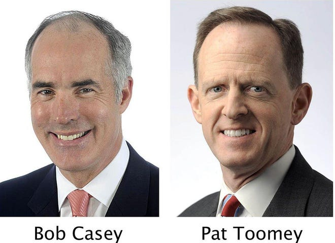 U.S. Sen. Bob Casey, D-Pa., left, and U.S. Sen. Pat Toomey, R-Pa. CONTRIBUTED