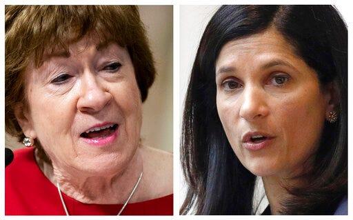 FILE - This pair of 2020 file photos shows incumbent Republican U.S. Sen. Susan Collins, left, and Maine Democrat House Speaker, right, candidates for U.S. Senate in the Nov. 3 election.
