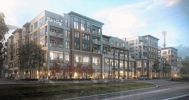 This rendering shows redevelopment plans for the Golden Bear Shopping Center. In his latest plans, developer Scott Patton, managing partner of Arcadia Development of Ohio LLC, said he has committed to dedicate at least 10,000 square feet of the first floor to professional offices.