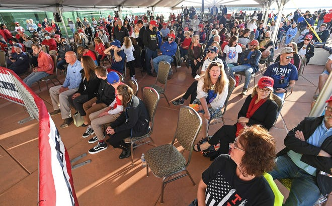 More than 250 turned out for a rally, Sept. 21, 2020 as Eric Trump spoke in support of his father, President Donald Trump, under a tent outside the Bayfront Convention Center in Erie.