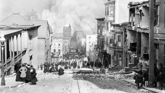 San Francisco, California     • Tragedy:  Earthquake, fire     • When it happened:  1906     • Population at the time:  400,000 A 7.9 magnitude earthquake on April 18, 1906, shook San Francisco, igniting fires around the city that wiped out about 500 city blocks. The tragedy was amplified by the buildings that were constructed on reclaimed swampland and the use of unreinforced brick masonry.  In the aftermath, the city quickly cleared the debris and improved its water system. In its zeal to rebuild quickly, San Francisco shelved plans to create wide boulevards. Its charm and eccentricity make the city one of the biggest tourist destinations in the United States.