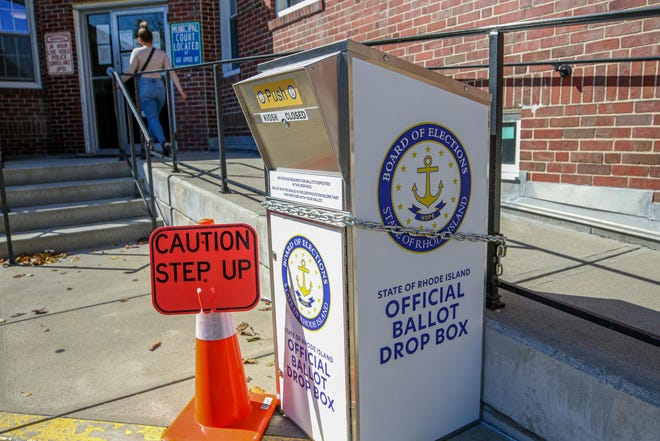 An official ballot drop box in front of Johnston Town Hall.