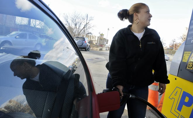 The price of gas in Worcester was averaging $2.04 on Monday.