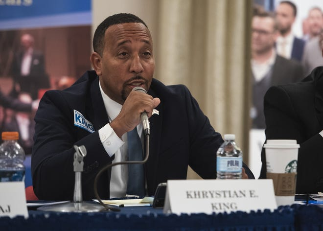 At-large City Councilor Khrystian King continued to push for quicker implementation of body cameras for city police officers Tuesday night.