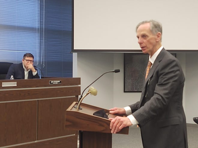 New Sherman City Attorney Richard Abernathy speaks before the Sherman City Council. The city recently approved a contract with Abernathy, Roeder Boyd & Hullett for legal representation.