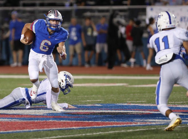Westlake quarterback Cade Klubnik scampers for a touchdown during the Chaparrals' game versus Lehman in 2019. Klubnik has completed 73.4% of his passes this season with seven touchdowns.