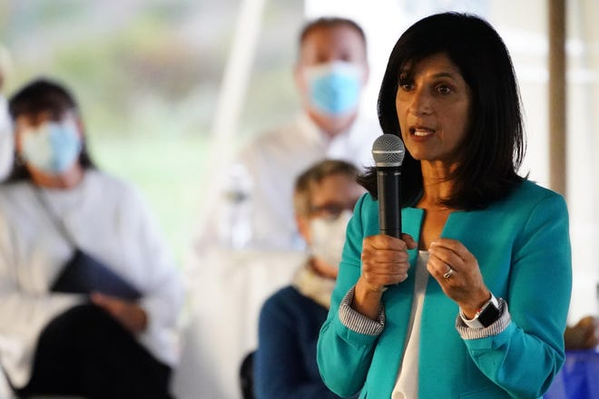"Sara Gideon, a Democratic candidate for U.S. Senate, speaks at a ""Supper with Sara"" campaign event, Thursday, Oct. 1, 2020, in Dayton, Maine."