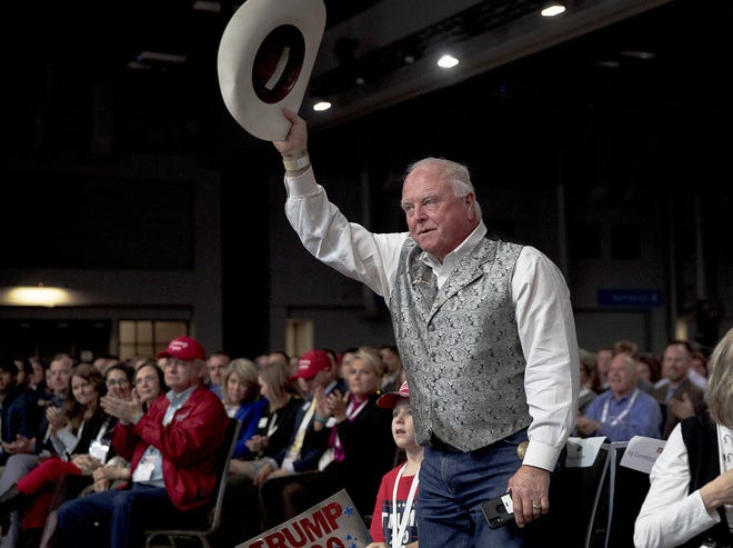 Texas Agriculture Commissioner Sid Miller acknowledges President Donald Trump at the American Farm Bureau Federation's convention in January in Austin. Miller sustained his criticism of Gov. Greg Abbott on Friday over his handling of the coronavirus pandemic.