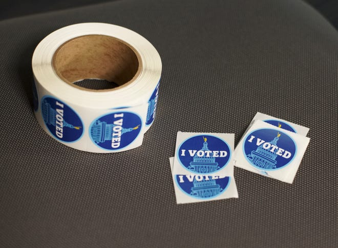 """I voted"" stickers at the Middletown Town Hall."