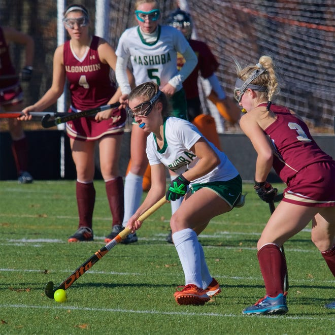 Nashoba Regional's Maddie Zacchini maintains control of the ball during a field hockey game against Algonquin last season.