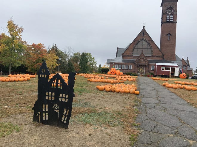 The pumpkin patch outside the First Congregational Church in Gardner.