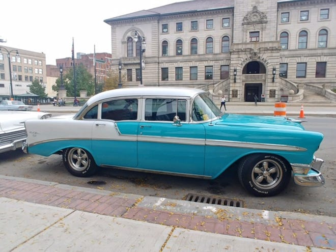 """A Chevy Bel Air from the 1950s parked on Main Street ib Friday is one of the vintage cars being used in """"Julia,"""" an HBO Max series being filmed in Worcester about the life of Julia Child. [T&G Photo/Craig S. Semon]"""