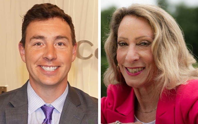 State Sen. Ryan Fattman, R-Sutton, left, is being challenged by Christine Crean, a Democrat from Milford.