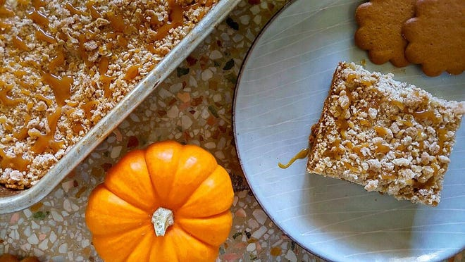Pumpkin Caramel Cheesecake Bars With Streusel Topping are a seasonal treat.