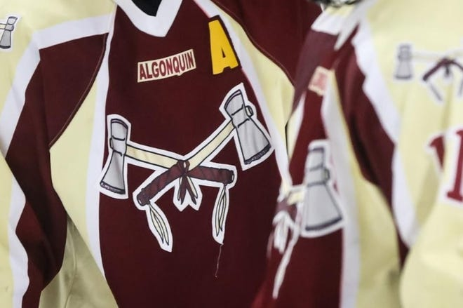 The Algonquin Regional High Tomahawks logo on a hockey jersey. Recent petitions have called for the school to change its mascot as well as the school's name. On Wednesday, the Northborough-Southborough Regional School Committee voted unanimously to change the Tomahawk mascot.