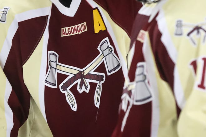 The Algonquin Tomahawks' logo on a hockey jersey at the NorthStar Ice Arena in Westborough. The Algonquin Mascot Study Group recommended to the Northborough-Southborough School Committee about two weeks ago that the current Tomahawks name and logo be retired. The school committee will vote on the fate of the mascot at this Wednesday's school committee meeting.