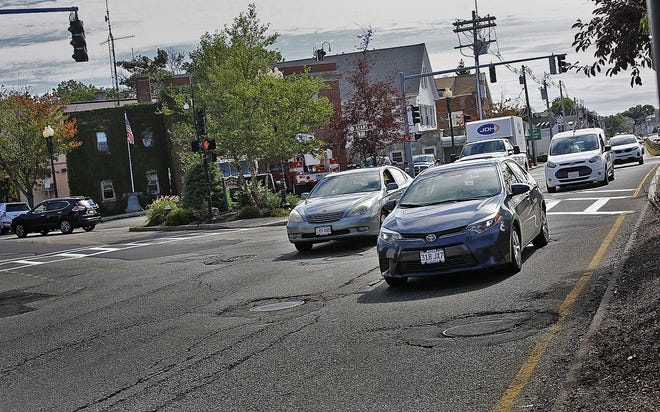 Traffic on Granite Street in East Milton Square over the Southeast Expressway.  File photo/The Patriot Ledger