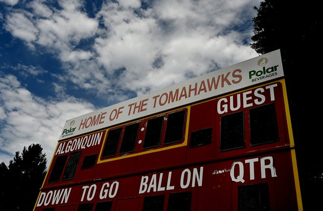 The scoreboard at the Algonquin Regional High School football field. A petition has started to change the name of the school and the Tomahawks mascot due to objectionable use of Native American imagery and names, according to the petitioners.
