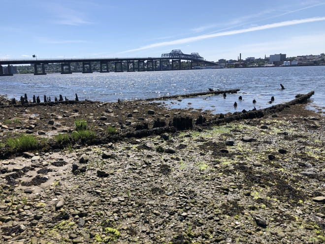 The remains of the City of Taunton, a Fall River line freighter which steamed between Fall River and New York at the turn of the 20th century, at Brayton Point in Somerset.