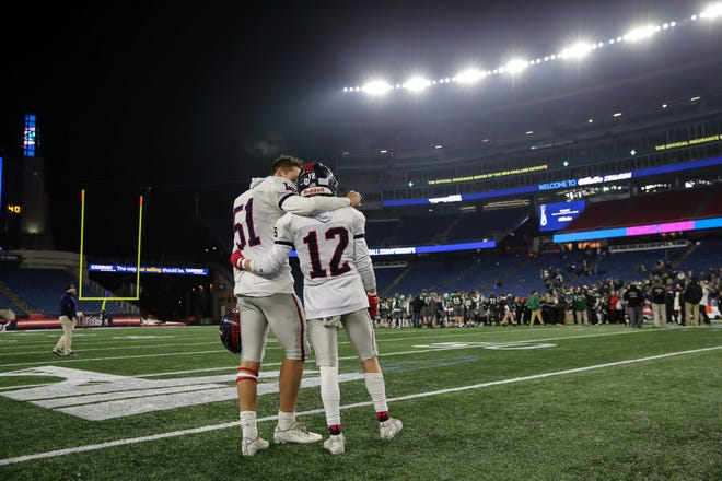 Lincoln-Sudbury's Will Ohler (left) and Nolan O'Brien hoped to return to Gillette Stadium the following season, after their loss to Mansfield in the 2019 Division 2 Super Bowl. The COVID-19 pandemic however took away that opportunity even as they finished the season undefeated after their win over Reading Friday night.
