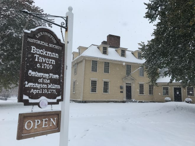 Lexington militia members gathered at Buckman Tavern on Bedford Street before the battle on April 19, 1775. The events for Patriots' Day, which celebrates the anniversary of the battle, will be held online again this year.