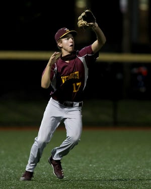Weymouth left fielder Zach DelGrosso gets underneath the ball for the out during the top of the fourth inning of their game against Maplewood at Libby Field on Tuesday, Sept. 8, 2020.