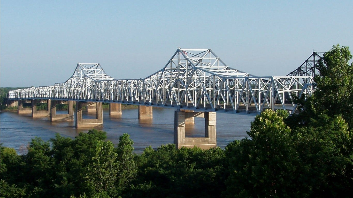 A larger share of roads and bridges are in a state of disrepair in Mississippi than in most other states.
