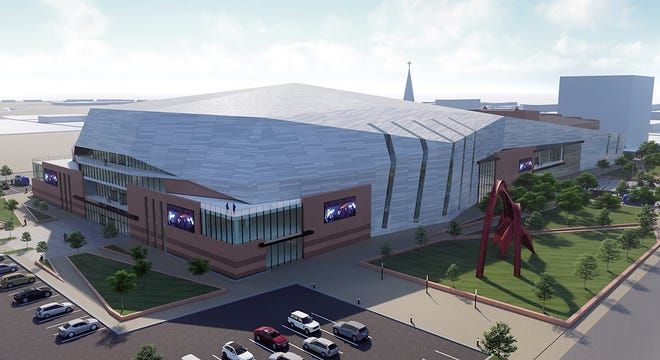 An artist's rendering of the proposed new James Brown Arena and Bell Auditorium entertainment complex.