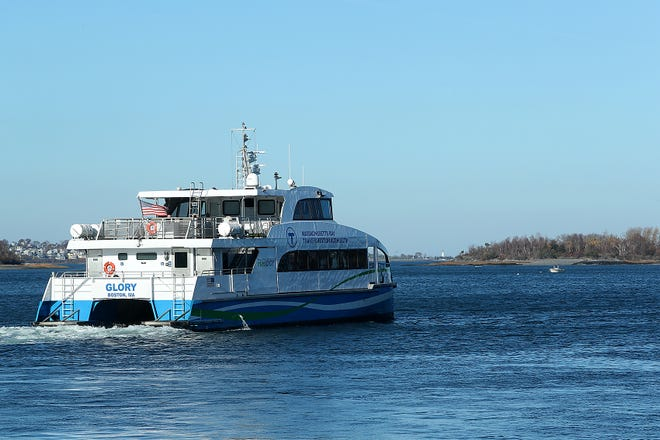 The MBTA ferry departs from Hingham for the trip to Boston on Nov. 10, 2020.