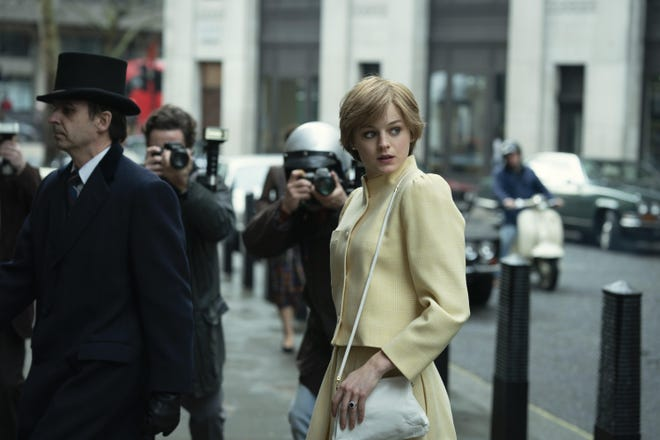 """Emma Corrin as Lady Diana Spencer in """"The Crown,"""" which returns Sunday."""