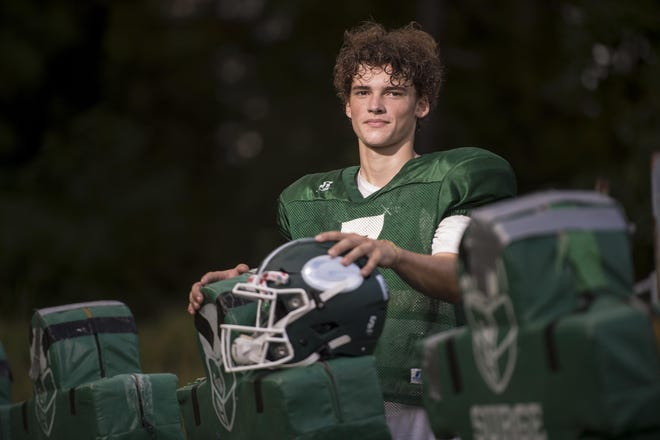 Greenbrier football player Brooks Pangle photographed at Greenbrier High School Tuesday evening October 6, 2020 in Evans, Ga.