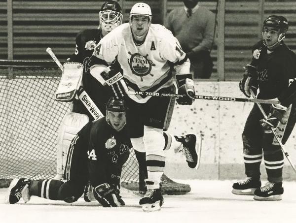 Peoria Rivermen future captain Dave Thomlinson, during the 1988-89 IHL season.