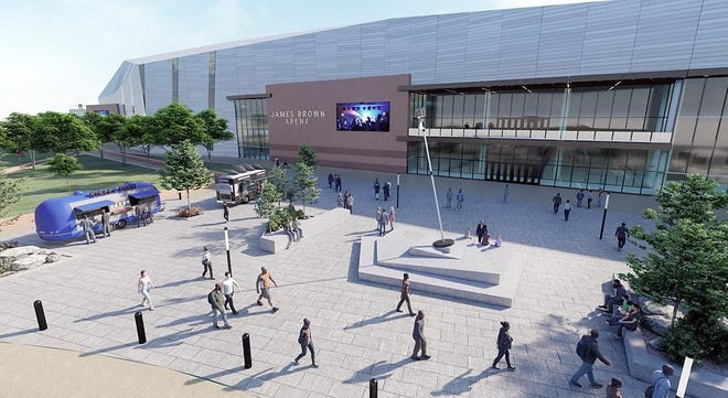 An artist's rendering shows the proposed new James Brown Arena and Bell Auditorium entertainment complex.