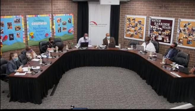 This screen shot shows members of the Peoria Public Schools board during its meeting on Monday, July 13, 2020. Members discussed other elements of the back-to-school process during the meeting which was broadcast on the district's YouTube channel.