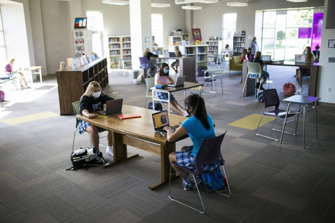 Students at Rockford Lutheran School can use the Center for Research and Engagement, a media center known as the CORE, to complete online coursework. The school, seen here on Sept. 2, reopened this fall offering students and families greater flexibility in when and how children attend school during the coronavirus pandemic.