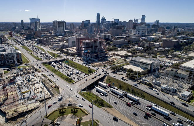 Traffic backs up on Interstate 35 in downtown Austin on Feb. 26.  A proposal from a Texas lawmaker could lead to toll lanes along a stretch of I-35 through the Austin area.