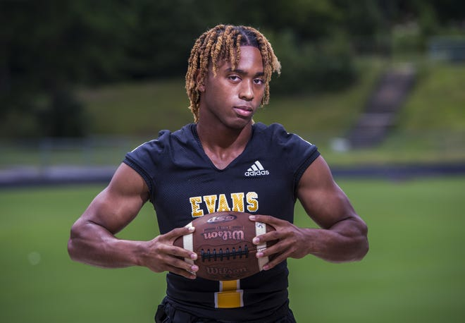 Evans High School football player Lleyton Lackey photographed at his school in Evans, Ga., Friday afternoon August 21, 2020.