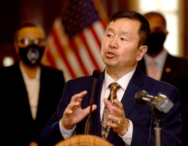 University of Missouri System President Mun Choi talks to members of the media following a meeting between Gov. Mike Parson and leaders of the system's campuses and Lincoln University at the capitol.
