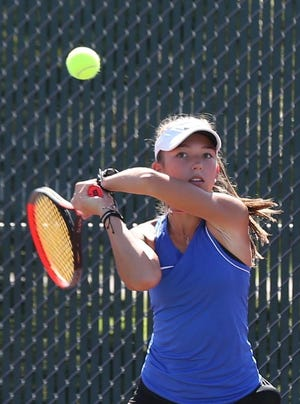 Hutchinson senior Gracie Foster is now a three-time singles regional champion following four straight sweeps at the Class 6A Dodge City regional girls tennis tournament.