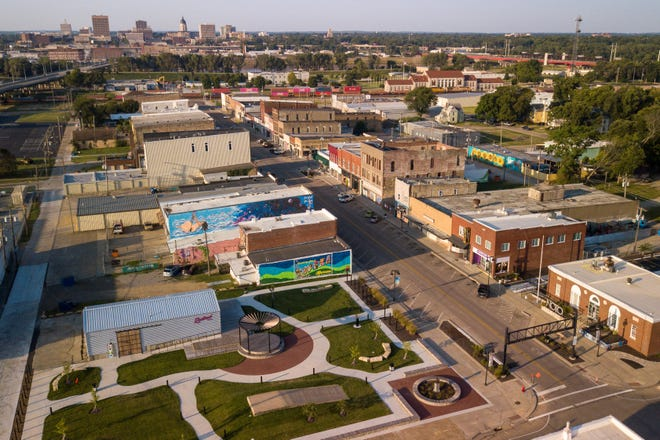 An aerial view shows shops lining the main stretch of Topeka's NOTO Arts & Entertainment District, which could become a business improvement district if approved by the city council and public.